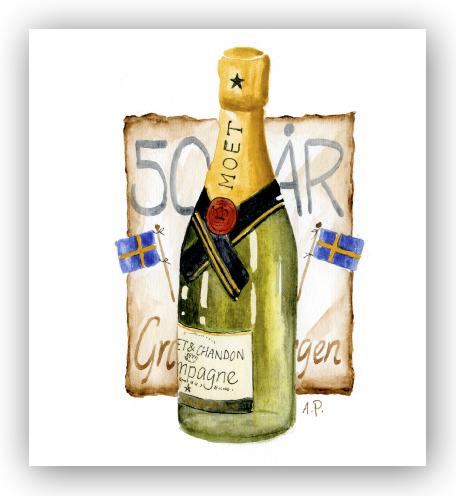 Gratulationskort 50 R Champagne Motivnummer L062 Bga